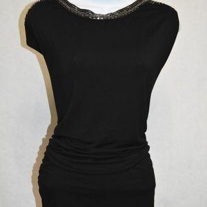 Guess Clara Embellished Black Top. Size Large